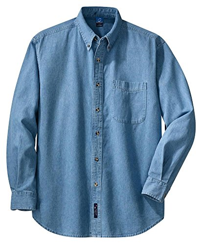 Port & Company Mens Long Sleeve Value Denim Shirt, Faded Blue, XX-Large (Mens Sleeve Long Denim Embroidered)