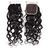 "GEM HAIR Brazilian Water Wave Front Lace Closure 8-20 inch Free Part Brazilian Virgin Hair Closure Size 4""x4"" 1pc Hair Pieces Natural Look 18in"