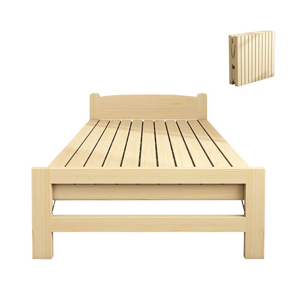 Tscenror HO Klappbett Holzklappbett mit Matratze for Kinder Multifunktions-Gästebett Tragbare Side Bed Easy for Büro Nap oder zu Hause zu Falten Klappbett Einzel (Farbe : Natural, Size : 190X80cm)