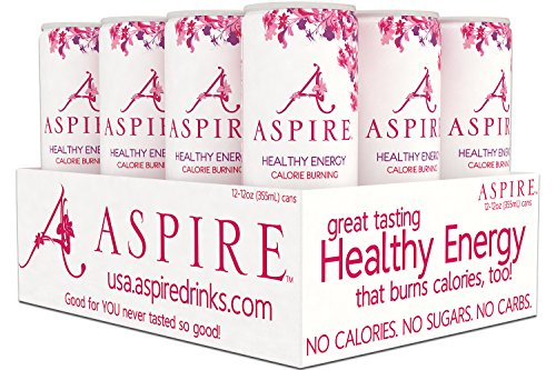 Aspire Healthy Energy  Calorie Burning  Zero Calorie  Zero Sugar Drink Raspberry   Acai 12 Count Case