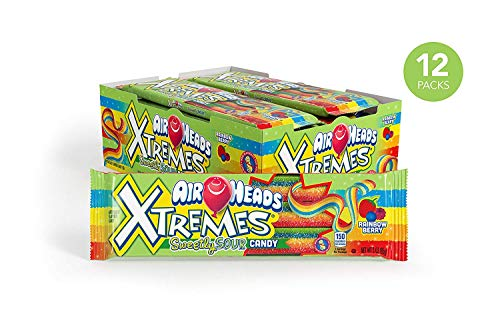 AirHeads Xtremes Sweetly Sour Candy Belts, Rainbow Berry, Party, Non Melting, 3 Ounce (Bulk Pack of 12) ()