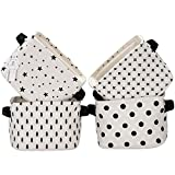 Sea Team Foldable Mini Square New Black and White Theme 100% Natural Linen & Cotton Fabric Storage Bins Storage Baskets Organizers for Shelves & Desks - Set of 4