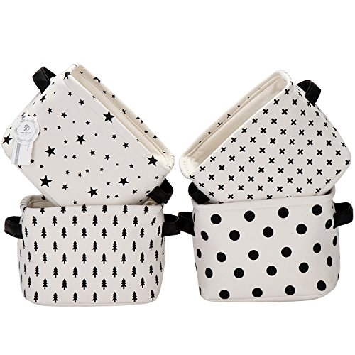 Sea Team Foldable Mini Square New Black and White Theme 100% Natural Linen & Cotton Fabric Storage Bins Storage Baskets Organizers for Shelves & Desks - Set of 4 (Shelves For Baskets Fabric Storage)