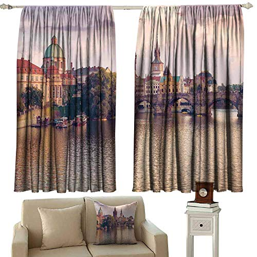 Diycon Exquisite Curtain Landscape Pastoral View at Charles Bridge Spires of Prague Central Europe Gothic Buildings Image Multi Thermal Insulated Tie Up Curtain W72 xL72 ()
