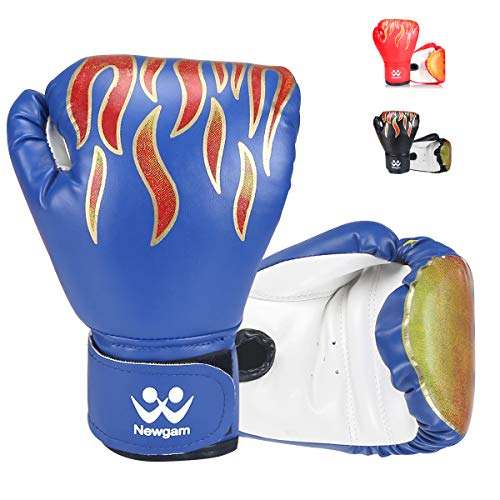 Newgam Kids Boxing Gloves, Children Junior Sparring Kickboxing Training Gloves,Junior Punch Bag MMA Training Muay Thai Mitts - PU Leather - 5oz for 3 to 14 YR,Blue