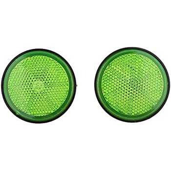 Baoblaze Plastic Round Reflectors for Motorcycle ATV Dirt Bike Motorbike (Orange & Green)