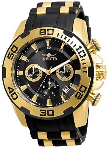 Invicta Men's Pro Diver Stainless Steel Quartz Silicone Strap, Black, 26 Casual Watch (Model: 22312) ()