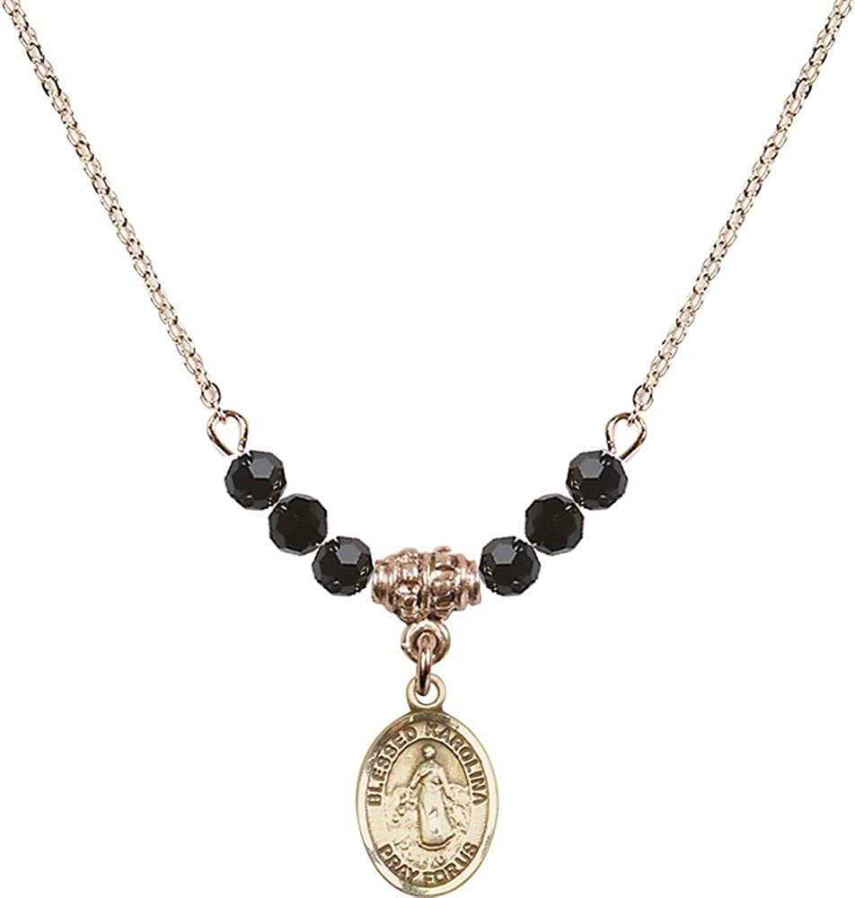 18-Inch Hamilton Gold Plated Necklace with 4mm Jet Birthstone Beads and Gold Filled Blessed Karolina Kozkowna Charm.