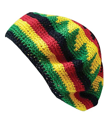 Inspirit Arts Tam Beret Hat Reggae Hand Made Crochet Knit Slouchy Dreadlock Cap Multi-color