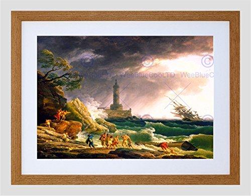 Med Oak Frame - The Art Stop Painting Seascape Maritime VERNET Storm MED Coast Framed Print F12x9794