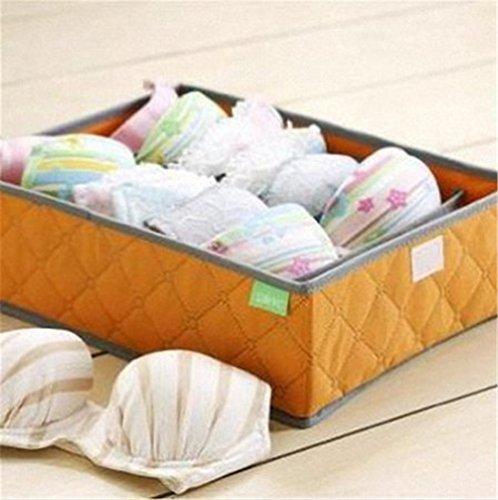 U-beauty 7 Cell Slots Panty Underwear Bras Drawer Closet Organizer Storage Box Case Orange
