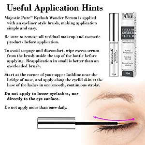 Eyelash Growth Serum From Majestic Pure - Myristoyl Pentapeptide-17 & Swiss Apple Stem Cells Based Formula Promotes Thicker & Longer Eyelashes and Eyebrows - 3.5ml