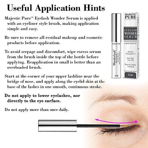 Eyelash Growth Serum From Majestic Pure - Myristoyl Pentapeptide-17 & Swiss Apple Stem Cells Based Formula Promotes Thicker & Longer Eyelashes and Eyebrows - 3.5ml by Majestic Pure (Image #2)