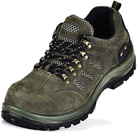 トレッキングシューズ 安全靴 作業靴 メンズ レディース 耐磨耗 衝撃吸収 登山靴 ウォーキングシューズ 大きいサイズ 鋼先芯 刺す叩く防止 絶縁 防滑 通気性抜群 防臭 軽量 アウトドア ハイキング 革靴 男女兼用 グリーン