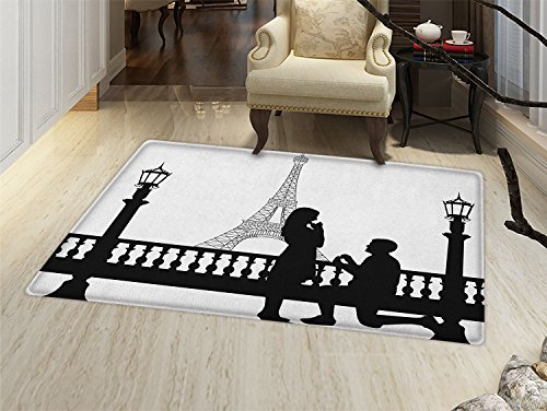 smallbeefly Engagement Party Door Mats for home Paris Love Valentines City Wedding Proposal Future Happiness Image Bath Mat Bathroom Mat with Non Slip Black and White -