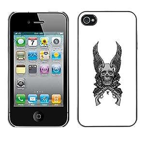 TopCaseStore / la caja del caucho duro de la cubierta de protección de la piel - Wings Guns White Black Death Skull - Apple iPhone 4 / 4S