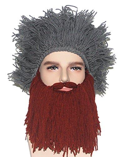 Brown Fur Wig - Kafeimali Men's Head Barbarian Vagabond Beanie Original Beard Hats Halloween Funny Winter Wig Caps (Brown)