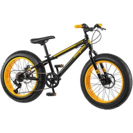 20'' Mongoose Massif Boys' All-Terrain Fat Tire Mountain Bike with Huge four-inch Wide Tires, Black/Yellow by Mongoose