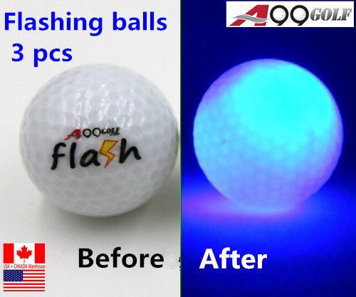 A99 Golf Twilight Light-up Flashing Golf Ball 3 pcs - PLAY NIGHT GOLF! (Blue) -