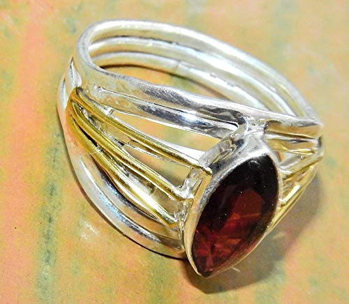SunnyCrystals Two Tone Madagascar Faceted Hessonite Garnet Ring Sterling Silver Natural Gemstone Hand Crafted Crystal Jewelry Size 8.5 GNR001
