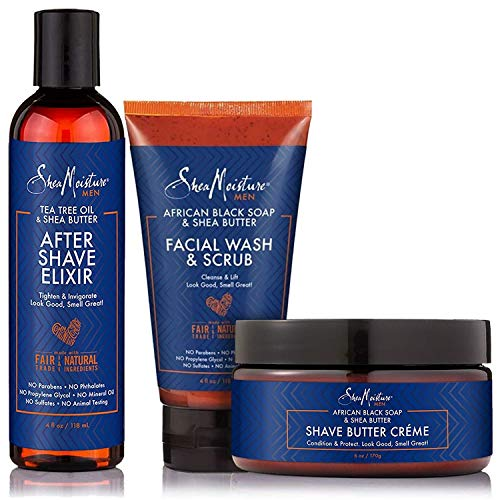 Shea Moisture Mens Shave Care Bundle, Tea Tree Oil & Shea Butter After Shave Elixir | African Black Soap & Shea Butter Facial Wash & Scrub Cleansing | African Black Soap & Butter Shave Cream