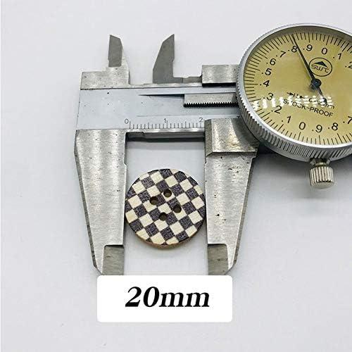 Yitang ウッドボタン4つの穴ランダムミックス手作り服スクラップブッキング縫製クラフト10個入り20ミリメートルカラフルなヴィンテージ、風景、スカルスタイルでインテリアのボタンラウンド木製ボタン (Color : MIX, Size : 20mm)