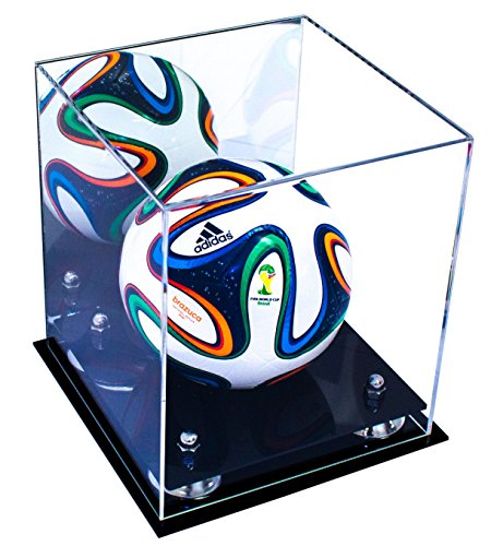 (Deluxe Acrylic MINI - Miniature (not full size) Soccer Ball Display Case with Silver Risers and Mirror (A015-SR))
