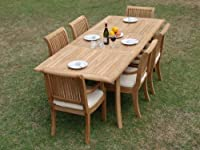 """7 Pc Luxurious Grade-A Teak Dining Set - 94"""" Double Extension Rectangle Table and 6 Giva Arm / Captain Chairs by WholesaleTeak"""