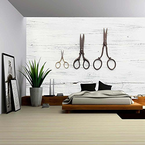 wall26-three-scissors-on-white-wooden-table-removable-wall-mural-self-adhesive-large-wallpaper-66x96