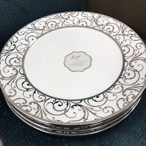 (Ciroa Luxe Silver Velluto Scroll Metallic Dinner Plates Set 4)