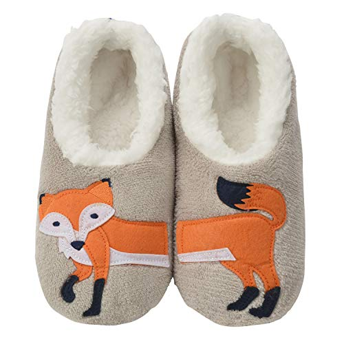 Snoozies Womens Classic Splitz Applique Slipper Socks | Feelin' Foxy | X-Large