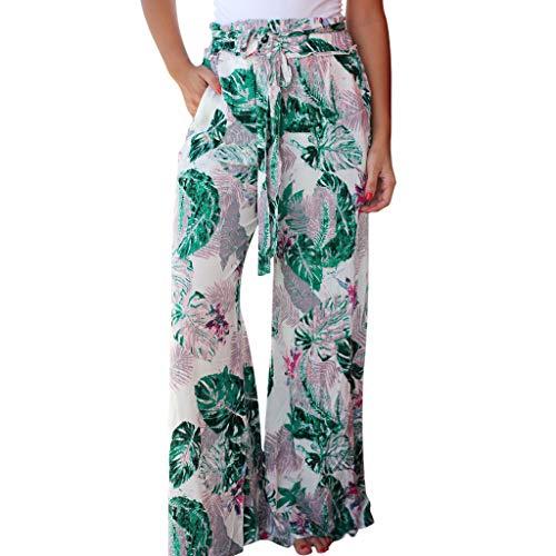 (hositor Yoga Pants for Women, Ladies Summer Pockets Leaves Printing Drawstring Wide Leg Pants Leggings White)