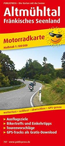 Altmühltal - Fränkisches Seenland: Motorradkarte mit Ausflugszielen, Biker- & Einkehrtipps, Tourenvorschlägen, GPS-Tracks zum Gratis-Download, ... GPS-genau. 1:100000 (Motorradkarte / MK)