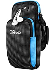 """ORIbox Running Armband with Double-Layer Large-Capacity Pocket for iPhone 12/11 Pro Max 12 Mini XS Max XR X 8 7 6S Plus SE 2020, Galaxy up to 7"""", Water Resistant Sports Phone Holder Case (Blue)"""