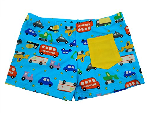 Fitted Swim Boxer - Aivtalk Baby Boys Swimming Trunk Cute Cartoon Bus Hand Pockets Mesh Lined Summer Beach Swimpants 3-4T Blue