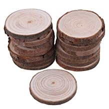 RDEXP 4cm-5cm Dia Natural Pine Wood Unfinished Round Discs Tree Bark Wooden Circles for DIY Crafts Set of 20