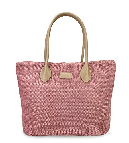 Hoxis Weekender Lightweight Synthetic Straw Shopper Tote Womens Shoulder Handbag ()