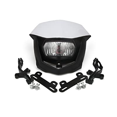 JFG RACING H4 12V 35W Universal Headlight Head Lamp For Motorcycle Dirt Pit Bike ATV Scooters - White: Automotive