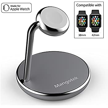 Mangotek Apple Watch Charging Stand, with Magnetic Charger module and USB Port for Apple Watch / iWatch and iPhone, Apple MFi Certified (Apple Watch Charger)