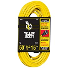 Yellow Jacket 2734 14/3 50-Feet 15-Amp Heavy-Duty SJTW Contractor Extension Cord Locking