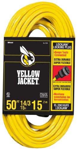 Yellow Jacket 2734 14/3 Heavy-Duty 15-Amp SJTW Extension Cord with Locking Plug, 50-Feet