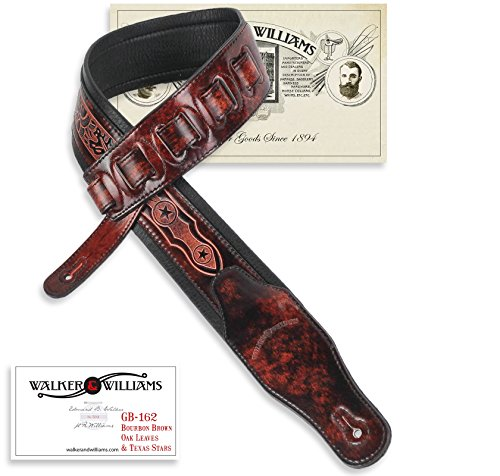 Walker & Williams GB-162 Bourbon Brown Padded Guitar Strap with Oak Leaves & Texas Star -