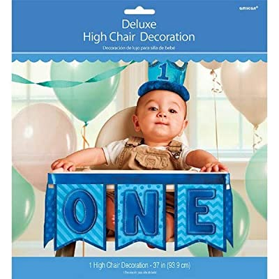 1st Birthday Deluxe High Chair Decoration - Blue: Toys & Games