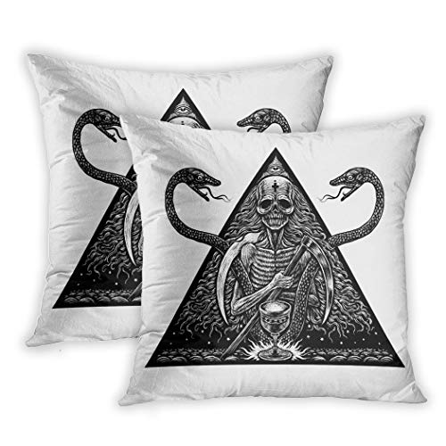 Suike Set of 2 Throw Pillow Covers Apocalypse Death and Snakes Mystical Graphic Tattoo Skull Demon Polyester Soft Cozy Square Decorative Pillowcases for Sofa Bedroom 20x20 -