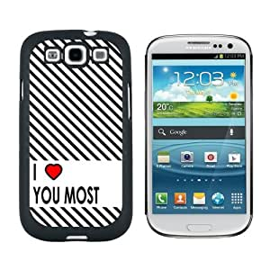 I Love You Most Stripes - Snap On Hard Protective Case for Samsung Galaxy S3 - Black by ruishername