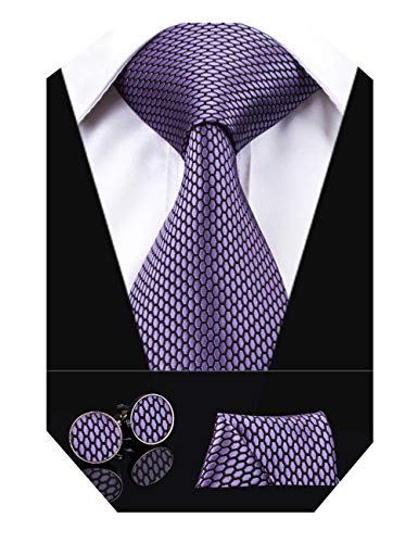 (Dubulle Solid Mens Purple Plaid Necktie with Cufflinks Tie and Pocket Square)