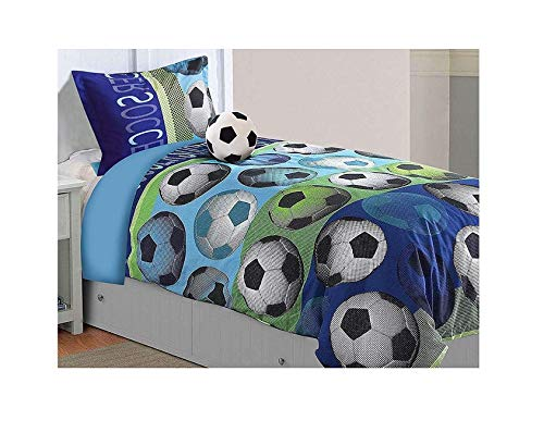 - All American Collection 3 Piece Twin Size Soccer Comforter Set with Furry Friend Included, Matching Sheets and Curtain Available (3PC COMFORTER SET ONLY)