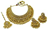 Matra Goldtone Kundan Stone Indian Women Designer 3 Pcs Choker Necklace Set Jewelry