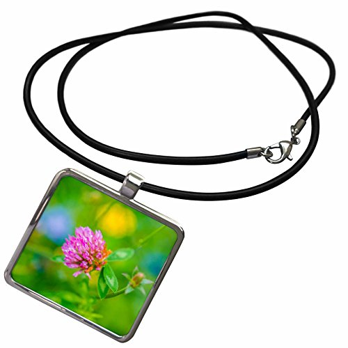 3dRose Alexis Photography - Nature Grass - Pink clover head, green grass, blue and yellow flowers - Necklace With Rectangle Pendant (ncl_267230_1)