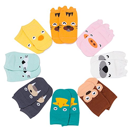 Gemini Fairy Cute Animal Cartoon 8 Pack Newborn Unisex-Baby Variety Socks Gift Set